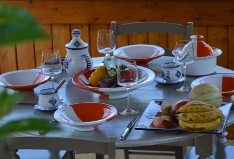 Service à couscous Kerouan orange/blanc