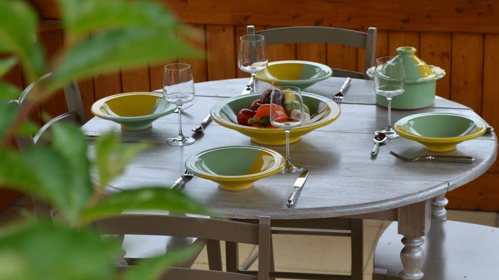 Service à couscous Kerouan pistache/jaune